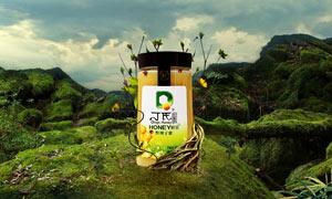 淘宝有机蜂蜜全屏促销海报PSD素材