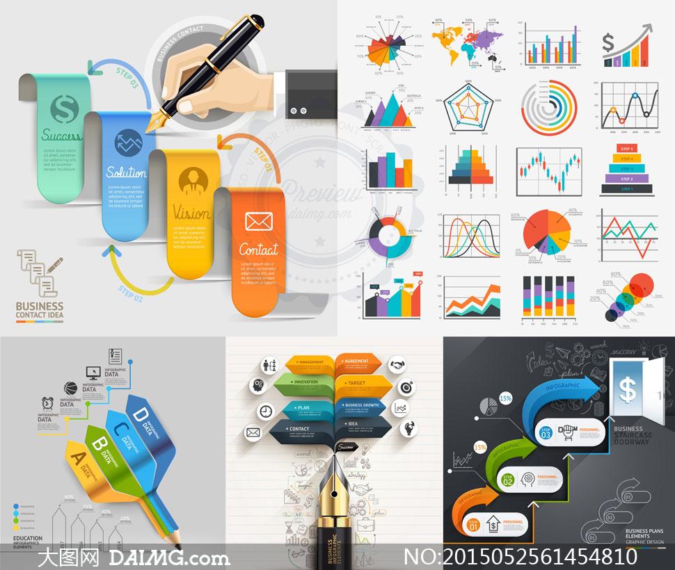 统计图表流程图表创意设计潮流时尚炫丽炫彩炫酷缤纷钢笔质感手势箭头