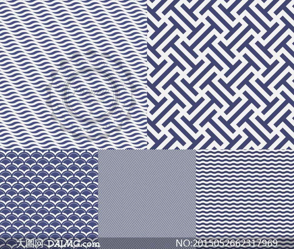 无缝平铺蓝白底纹背景等矢量素材v1