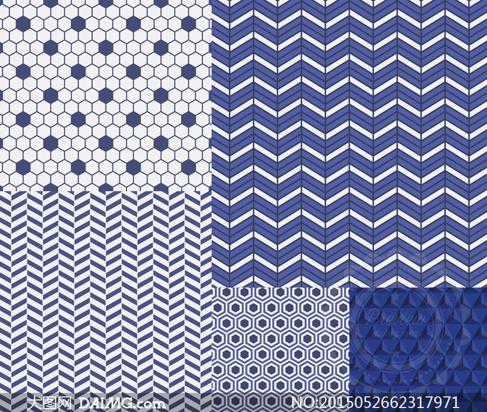 无缝平铺蓝白底纹背景等矢量素材v3