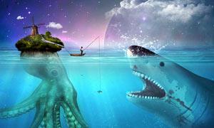 创意的渔民钓鲨鱼PS教程素材