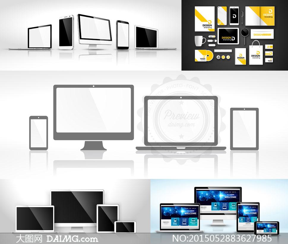 手机电脑等多终端设备展示矢量素材