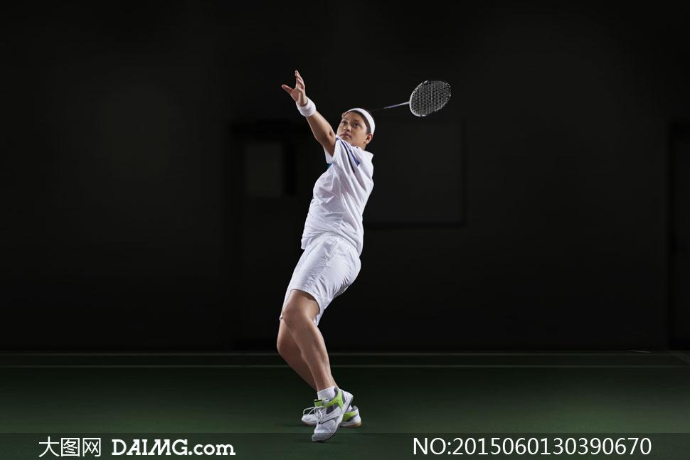高清摄影大图图片素材体育运动羽毛球球拍人物运动员