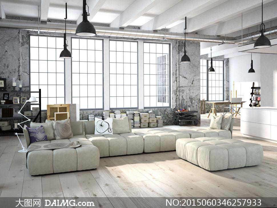 宽敞客厅沙发家具摆设摄影高清图片