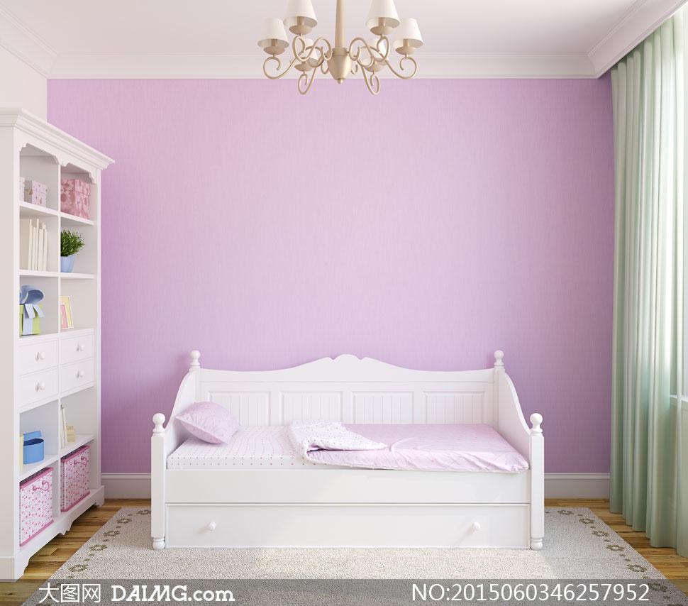 房间里的儿童床等摆设摄影高清图片