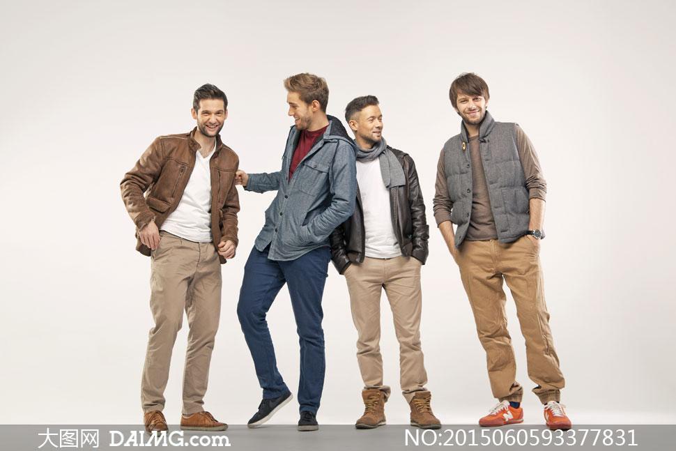 四个开心男装模特人物摄影高清图片