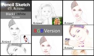 人像黑白素描和彩色素描效果PS动作