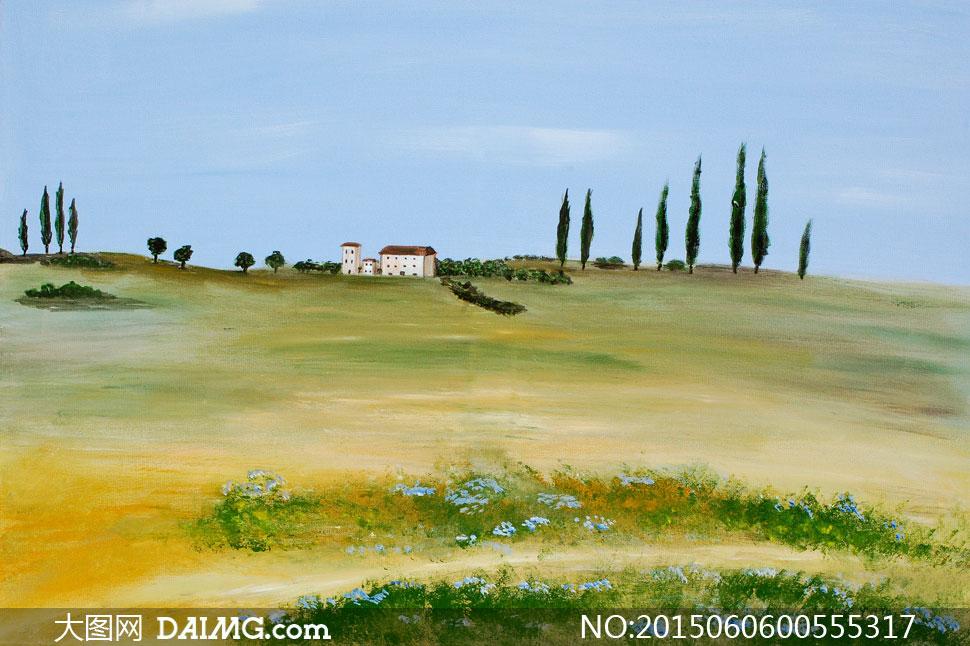 意境房子房屋草丛鲜花花草花丛草丛天空山坡小路田