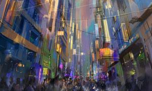 城市林立的大楼等绘画创意高清图片