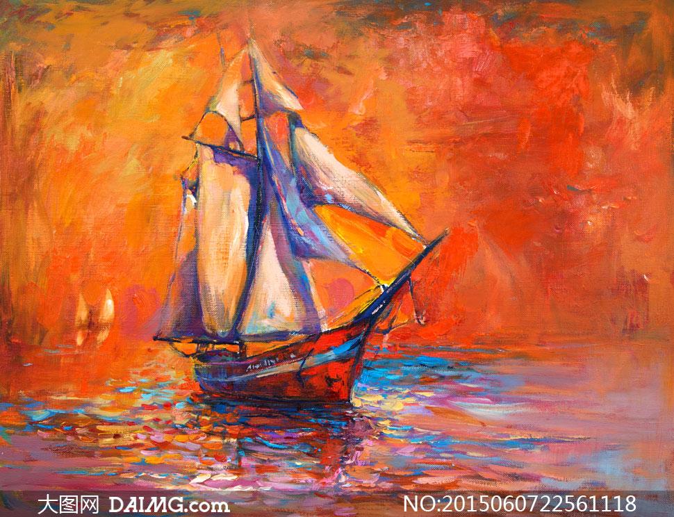 水面上航行的帆船油画艺术高清图片图片