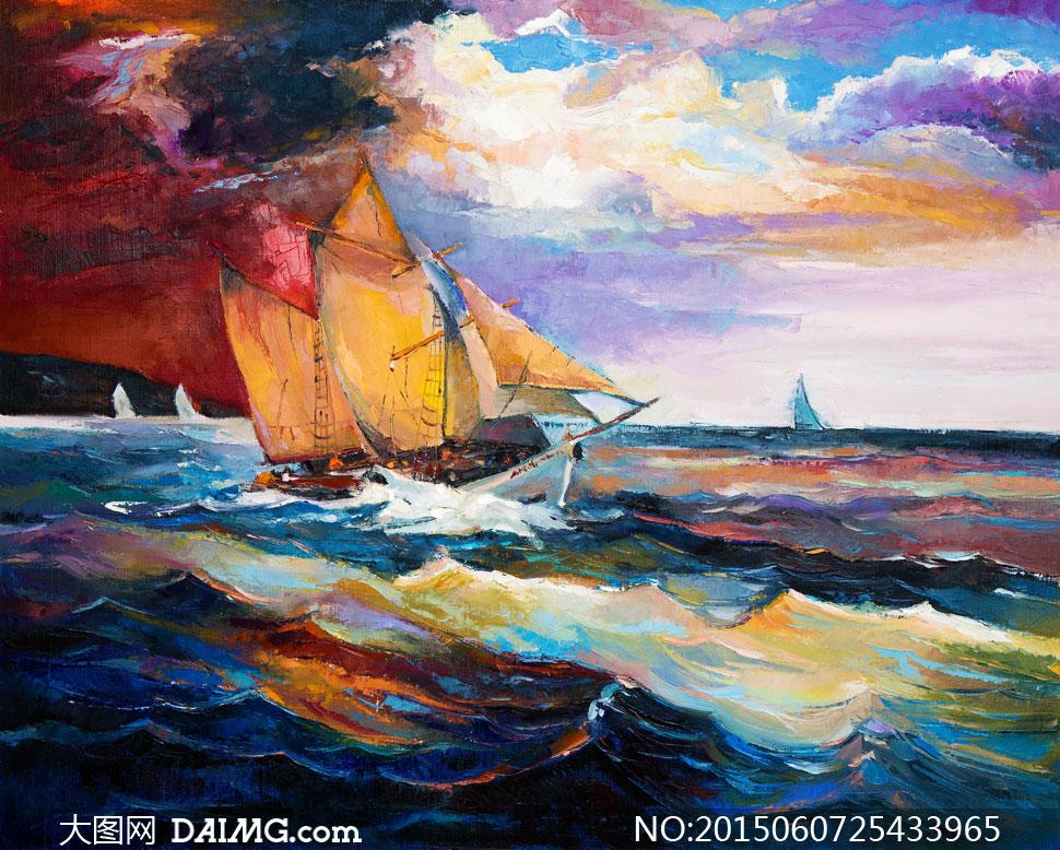 乘风破浪中的帆船油画设计高清图片