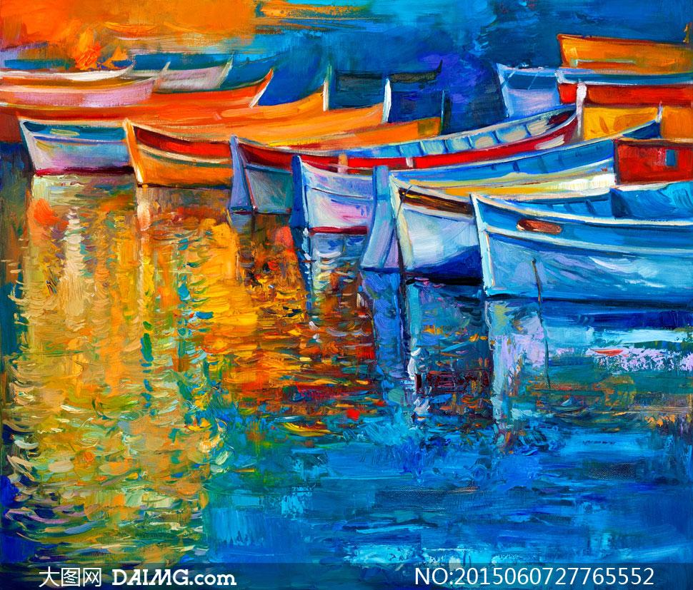 平静水面上的木船油画艺术高清图片