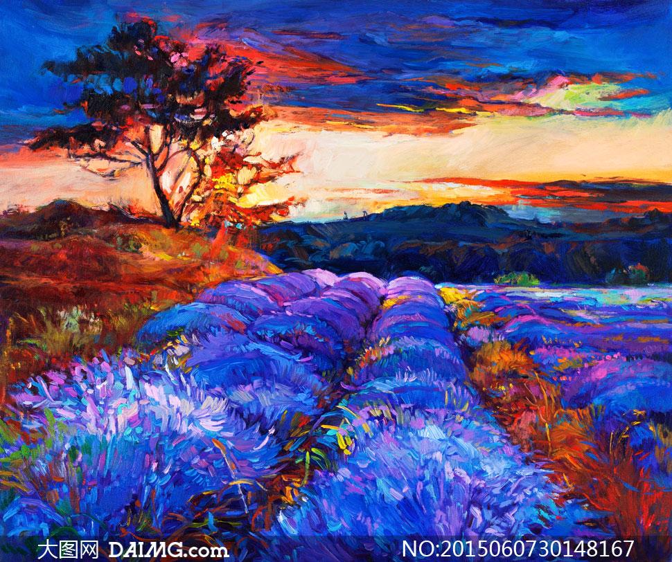 油画西洋画印象派色彩田园风光花草草丛花丛树木大树田地黄昏傍晚天空