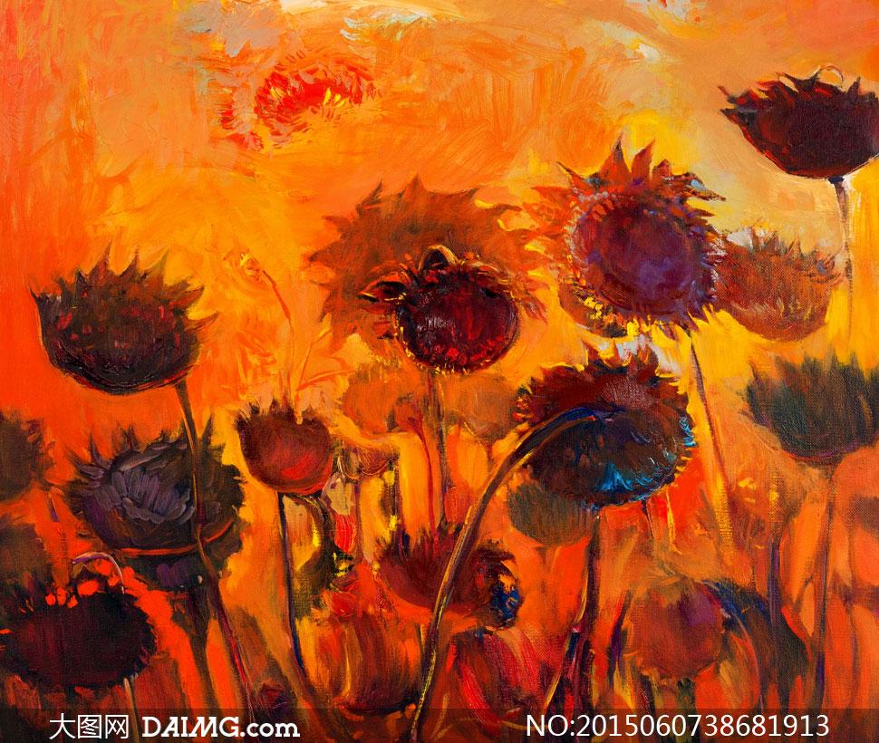 向日葵花卉植物西洋画创意高清图片