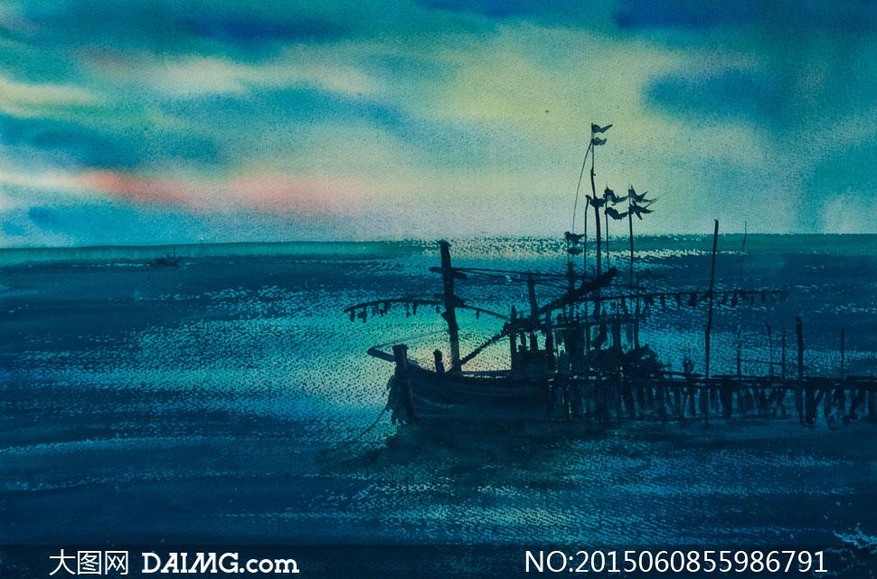 渔船等绘画高清图片下载; 关键词: 高清大图图片素材绘画艺术文化水彩