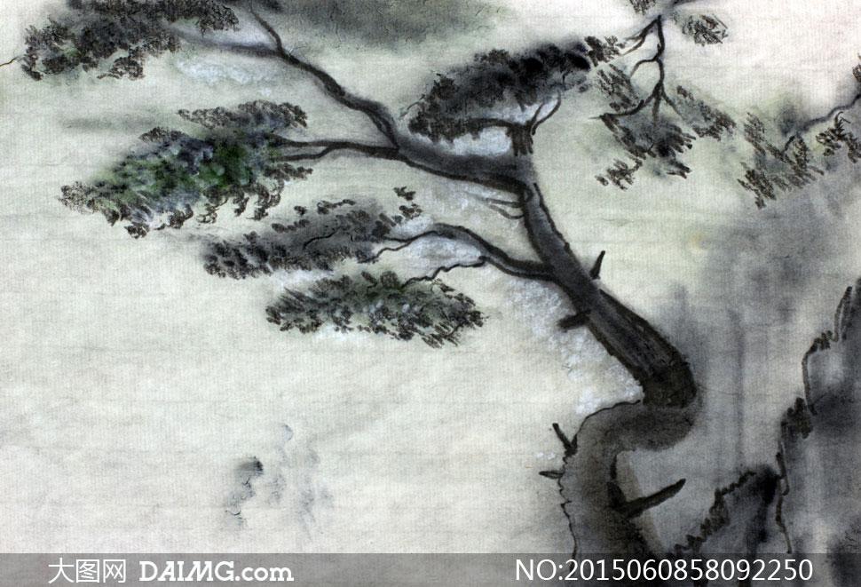 黑白水墨风格树木绘画作品高清图片