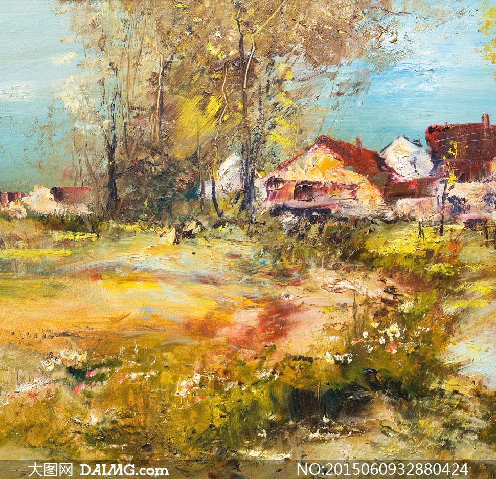 树木房子风景油画美术创意高清图片