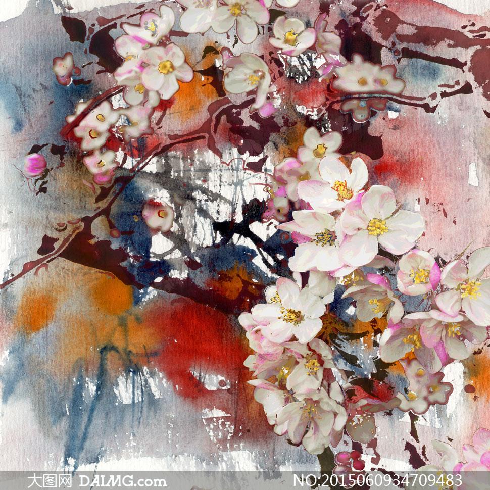 树枝上的白花植物绘画作品高清图片