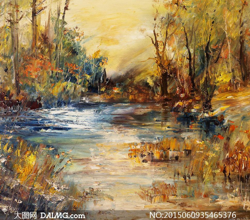 秋天水边的树木风景画美术高清图片