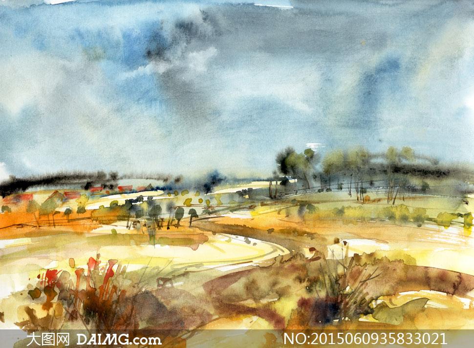 树木自然风景水彩绘画创意高清图片