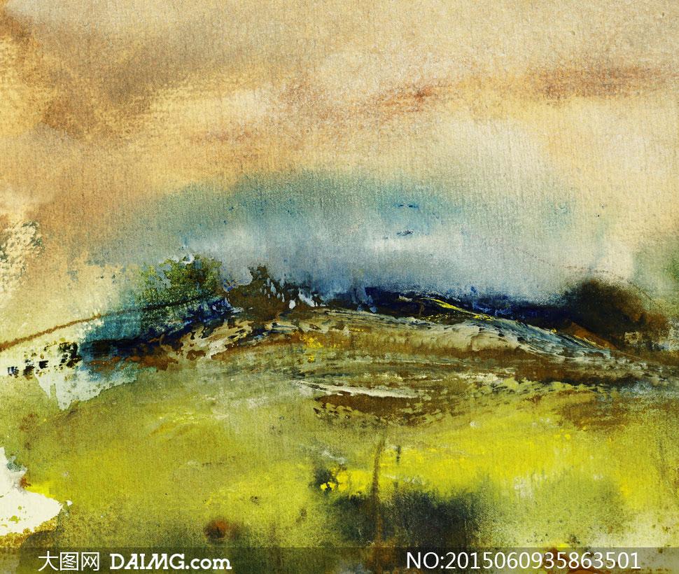 术文化美术油画水彩画水粉画树木大树自然风景-柳树枝图片,高清大
