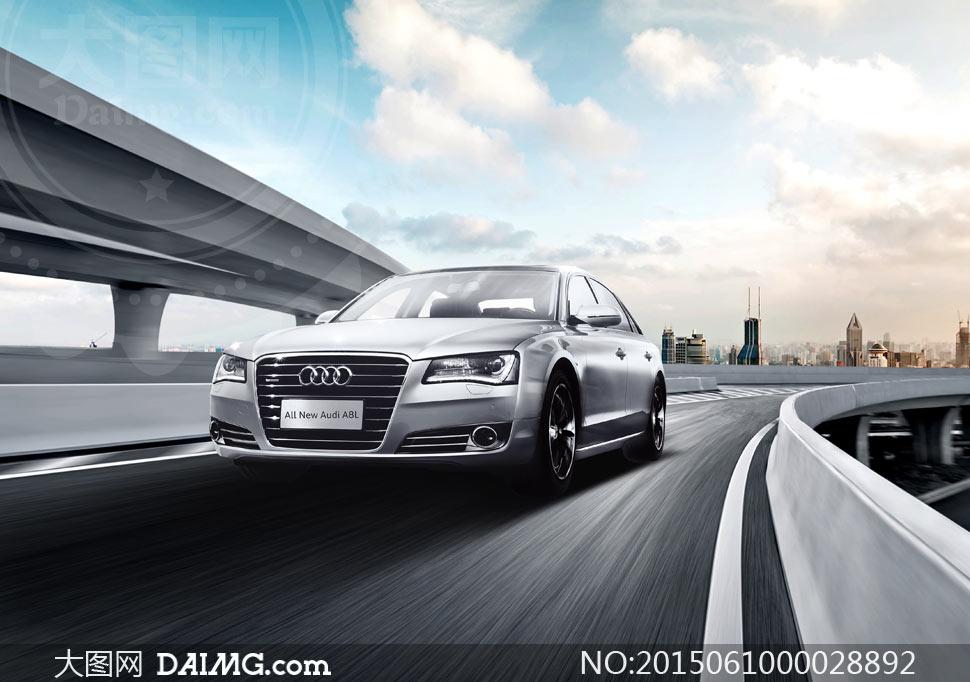 行駛中的奧迪汽車廣告設計psd素材