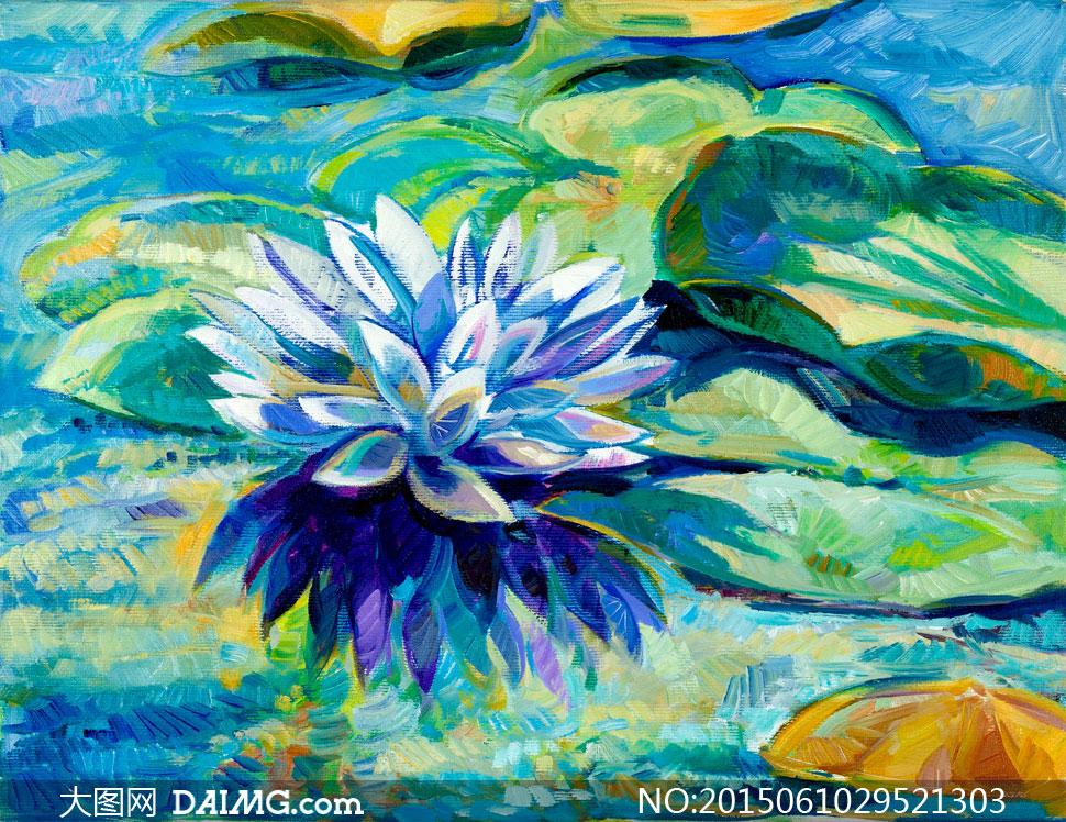 水中睡莲美术油画作品创意高清图片