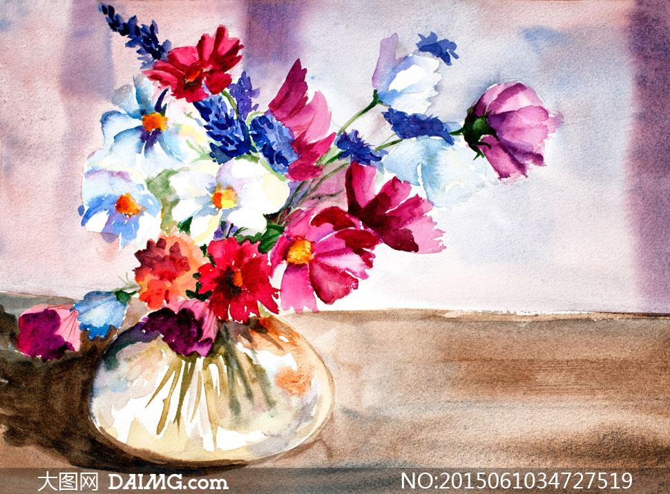 水彩画插花花瓶