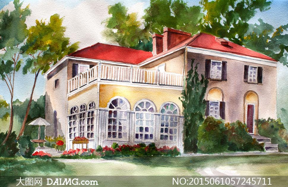 别墅房子外的花草树木绘画高清图片