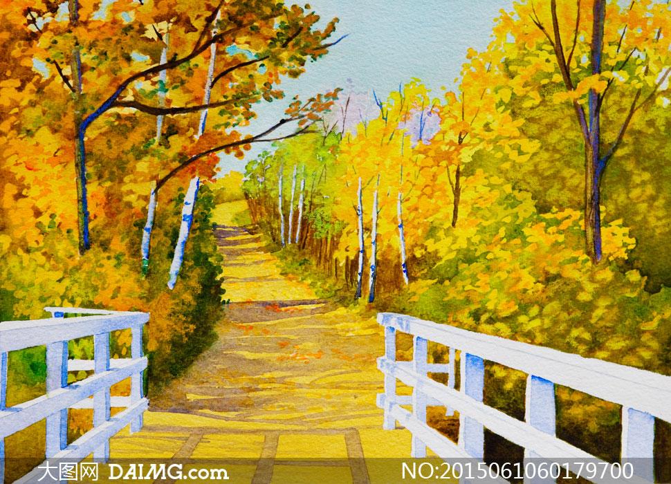 小桥与秋天茂密树林风景画高清图片