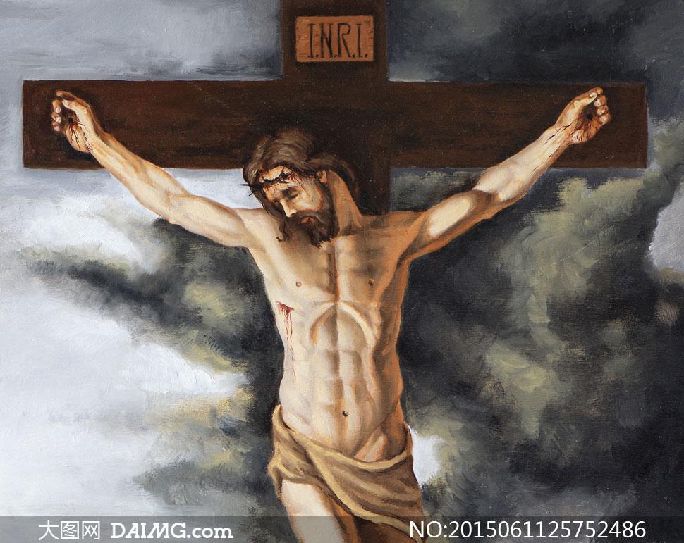 被钉在十字架上的耶稣油画高清图片