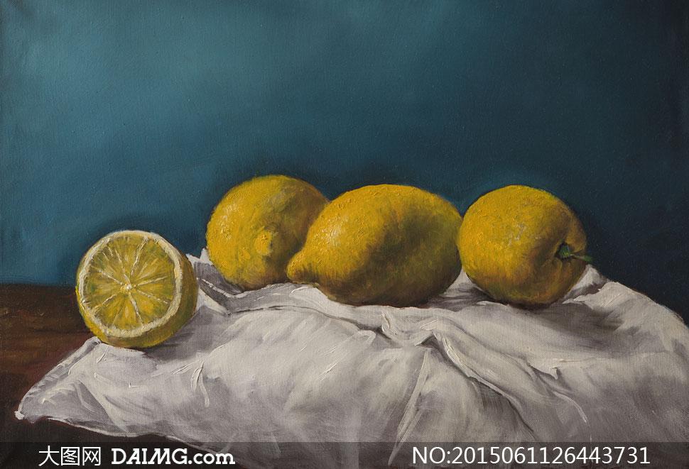 切开的柠檬等静物特写油画高清图片