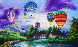 湖水与空中的热气球等油画高清图片
