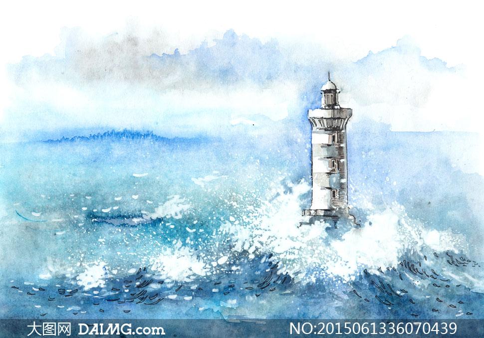 灯塔水彩创意图片下载; 关键词: 高清大图图片素材绘画艺术文化美术水