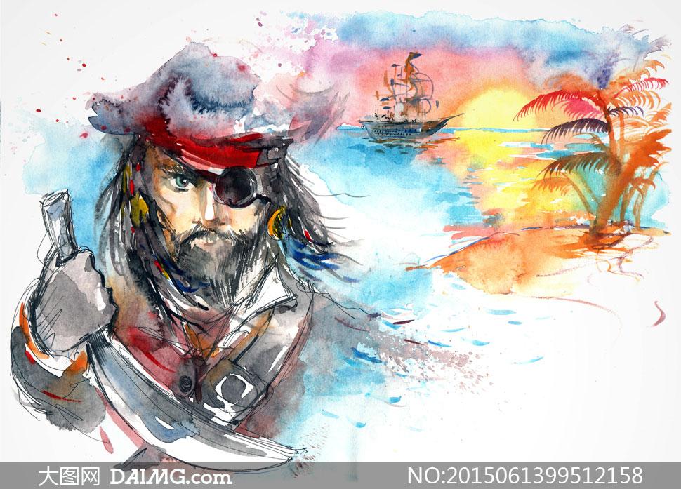 独眼龙海盗船长手绘水彩画高清图片