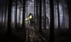 森林中的鬼屋场景PS教程素材