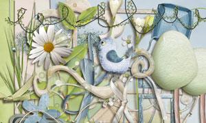 小鸟边框与花朵树叶等欧美剪贴素材