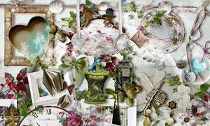 树枝蝴蝶与相框书本等欧美剪贴素材