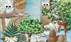 绳结小鹿与蘑菇青草等欧美剪贴素材