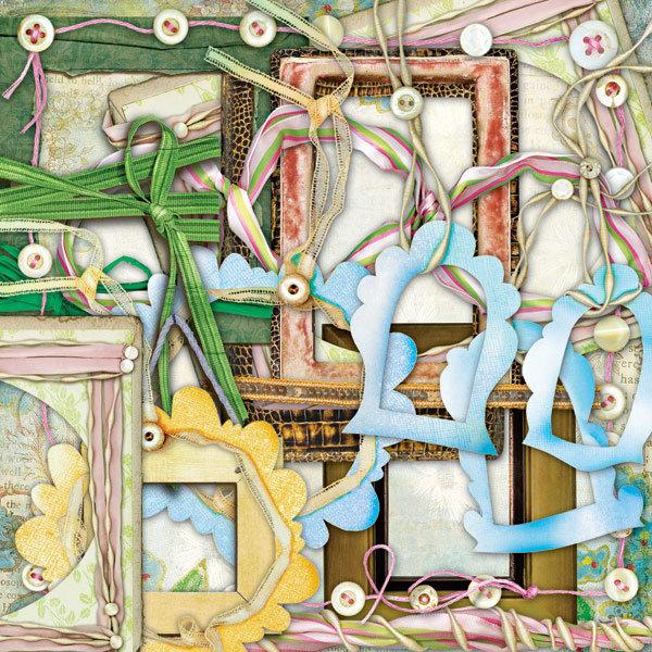 相框小鸟与树枝鲜花等欧美剪贴素材