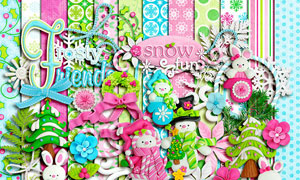 兔子纽扣与树叶花朵等欧美剪贴素材