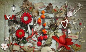 树叶缎带与相框花朵等欧美剪贴素材