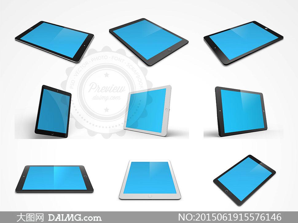 平板电脑屏幕内容效果展示分层模板