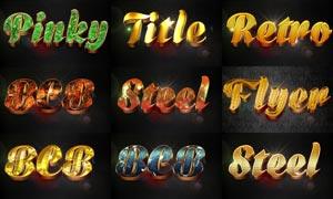 12款金色质感的3D立体字PSD模板