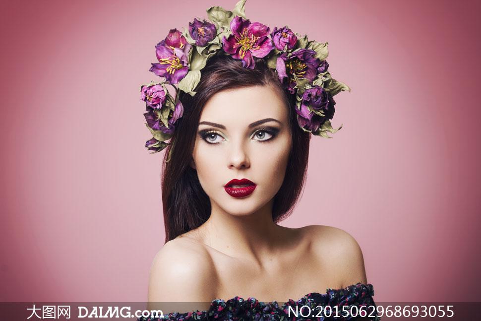高清大图图片素材摄影人物美女女人女性模特长发秀发黑发紫色鲜花