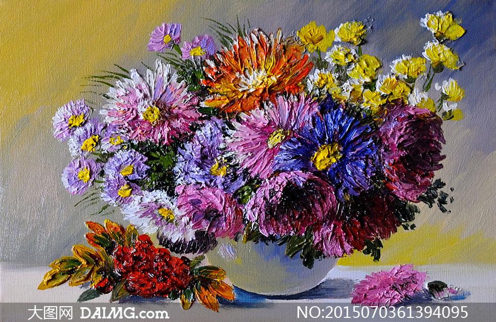 花瓶里的鲜艳花卉静物油画高清图片