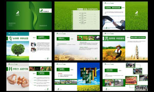 绿色肥料企业画册设计模板PSD素材