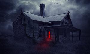 恐怖的鬼屋场景合成PS教程素材