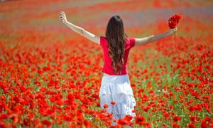 站在花丛中的美女背影摄影高清图片