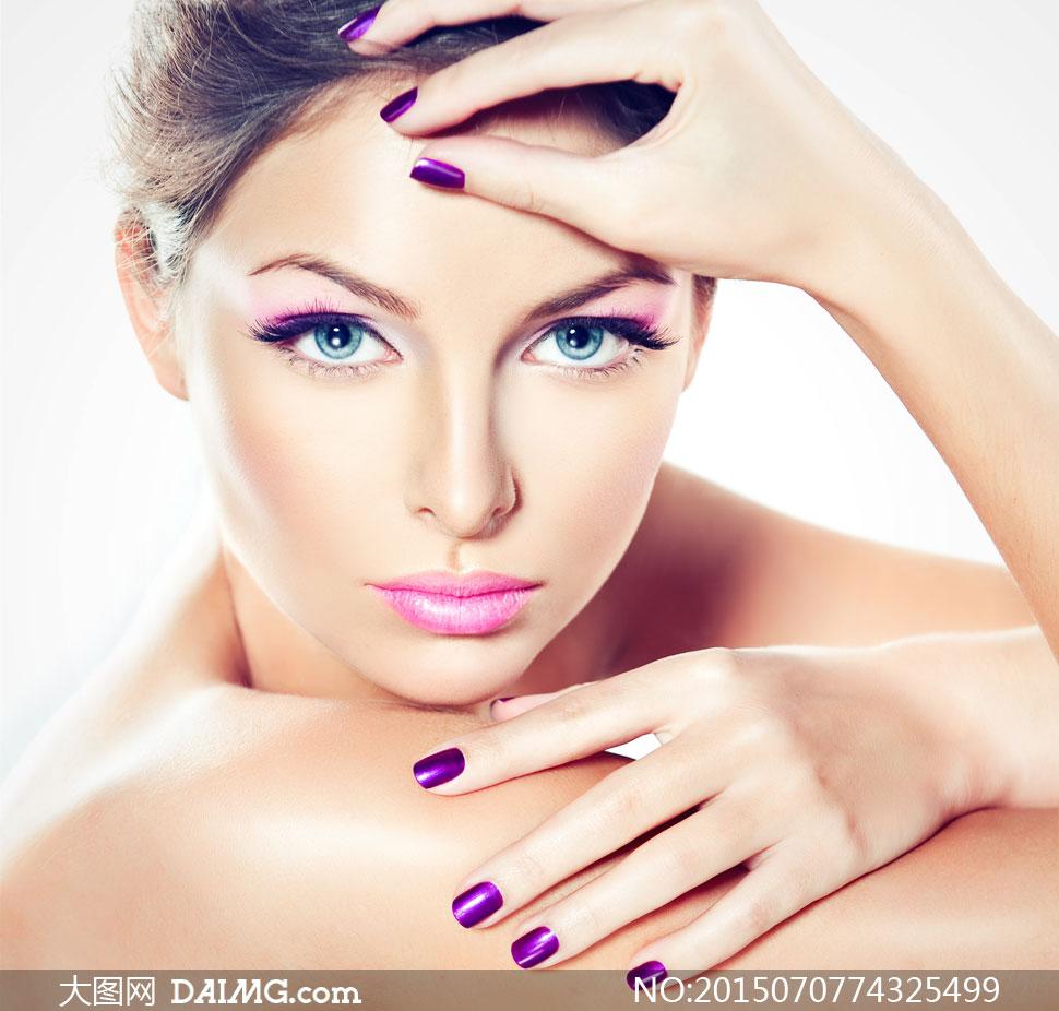美女高清囹�a��9�k_紫色美甲妆容美女人物摄影高清图片